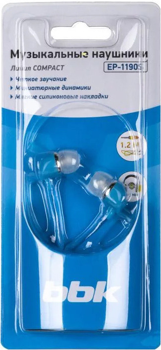 Наушники-вкладыши BBK EP-1190S, 490315, синий цена
