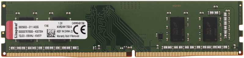 Модуль оперативной памяти Kingston DDR4 4Gb 2400MHz, KVR24N17S6/4 dimm ddr4 4гб kingston kvr24n17s6 4