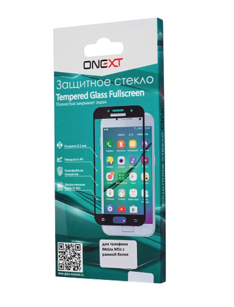 Защитное стекло Onext для Meizu M5 Note, 641-41451, с рамкой, белый защитное стекло onext для huawei p10 lite 641 41432 с рамкой белый