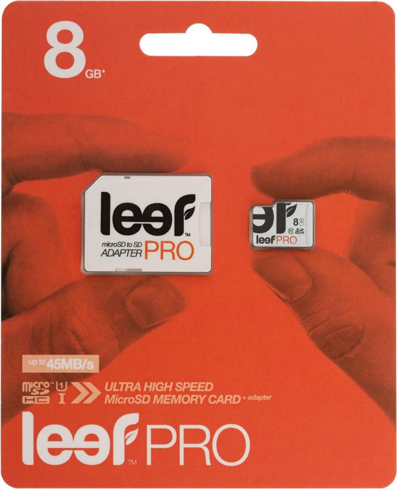 Карта памяти Leef Pro UHS-I Class 10 U1, с адаптером, LFMSDPRO-00810R, 8GB карта памяти leef microsdhc class 10 8gb