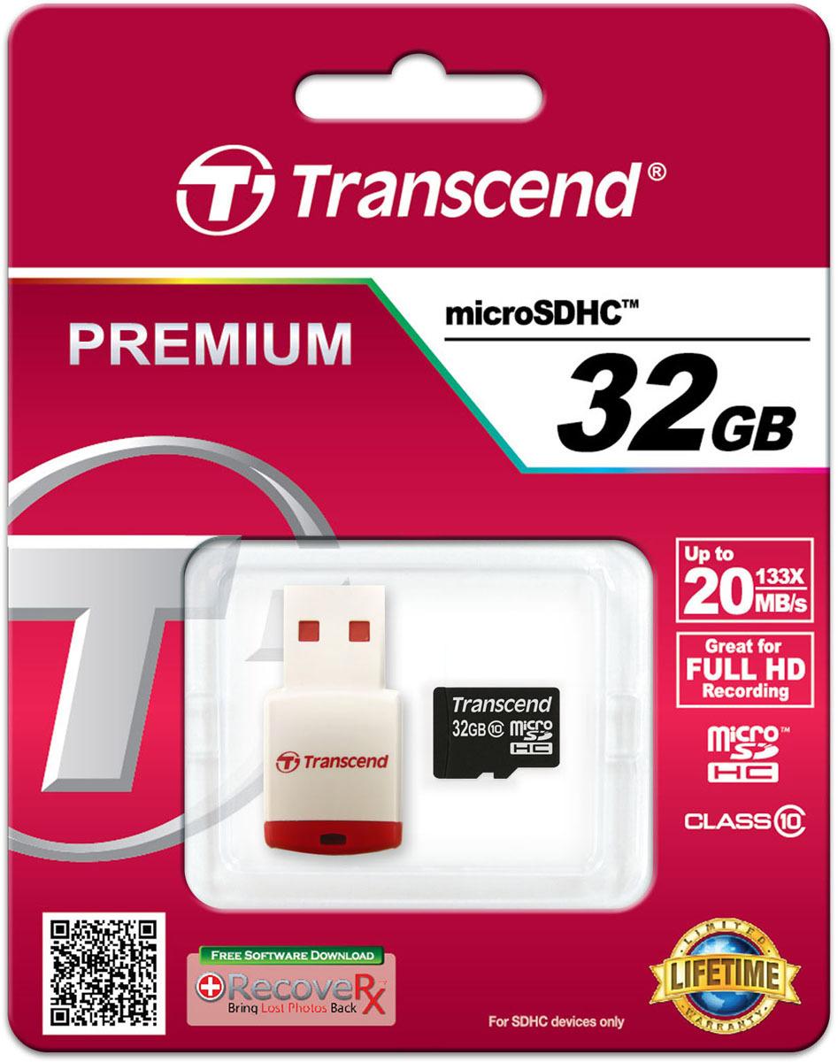 Карта памяти Transcend Class 10, с USB кард-ридером, TS32GUSDHC10-P3, 32GB цена и фото