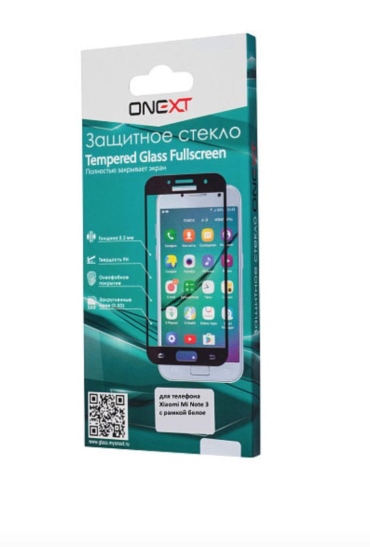 Защитное стекло Onext для телефона Xiaomi Mi Note 3, 641-41489, с рамкой, белый защитное стекло onext для huawei p10 lite 641 41432 с рамкой белый