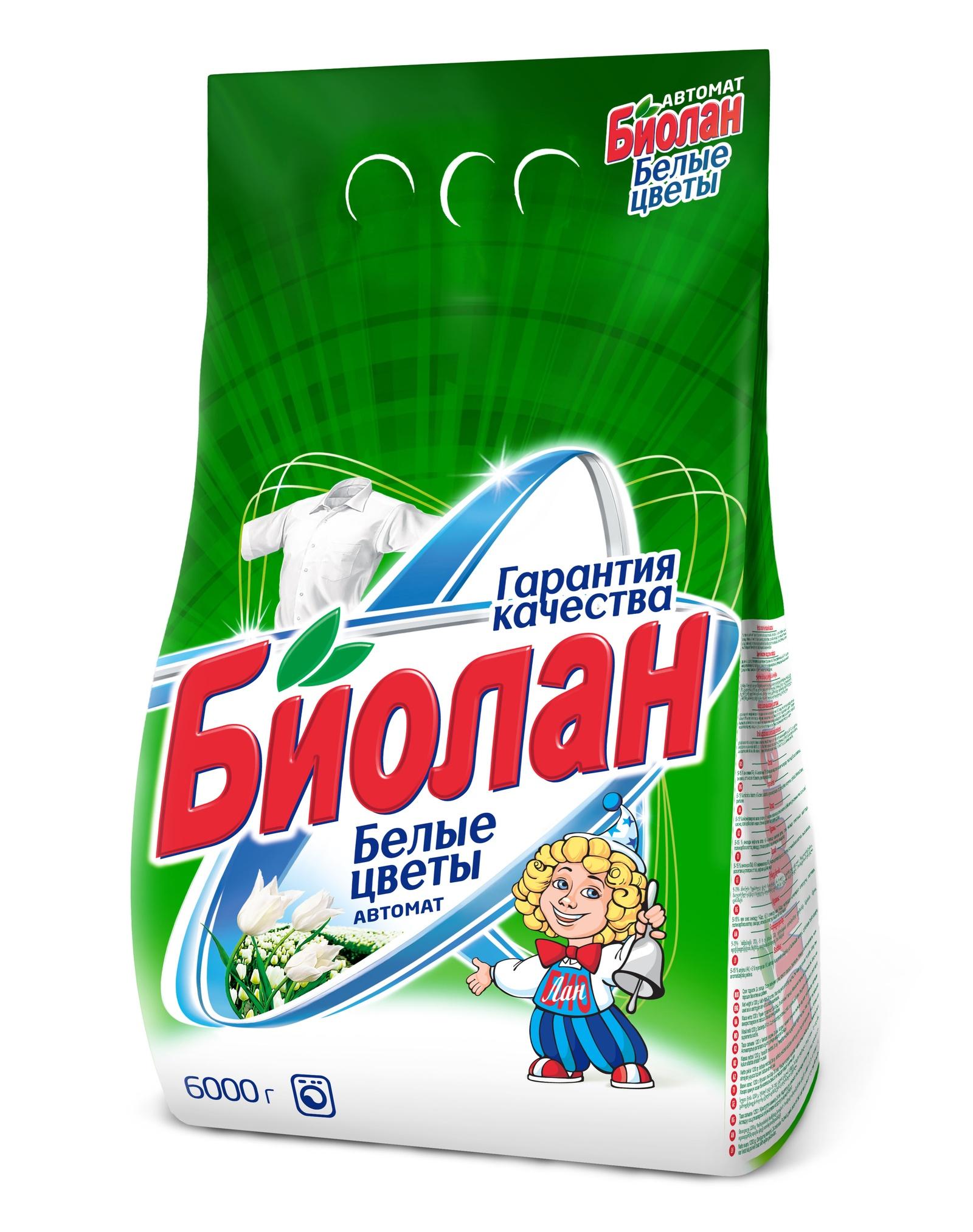 """Стиральный порошок Биолан """"Белые цветы """" автомат, 6 кг"""