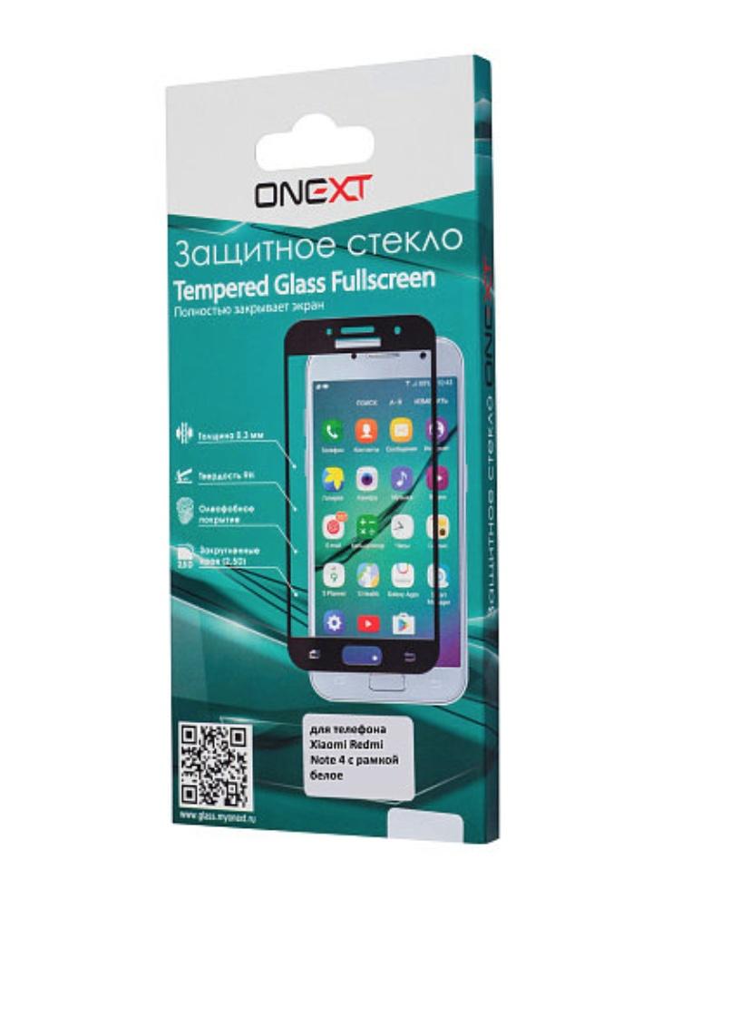 Защитное стекло Onext для телефона Xiaomi Redmi Note 4, 641-41794, с рамкой, белый защитное стекло onext для huawei p10 lite 641 41432 с рамкой белый