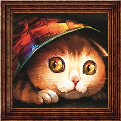 AC011/Котишка-шалунишка - открытка по номерам