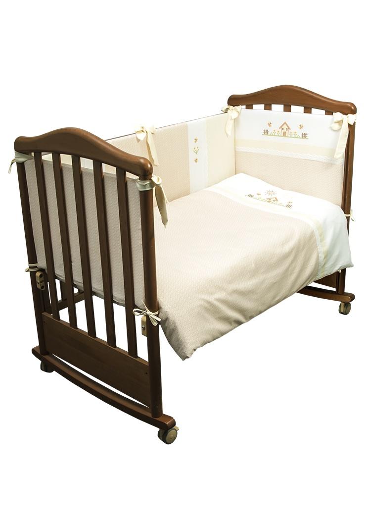 """Детское постельное бельё в кроватку Сонный гномик """"Кантри"""", 317_4, бежевый, 3 предмета"""