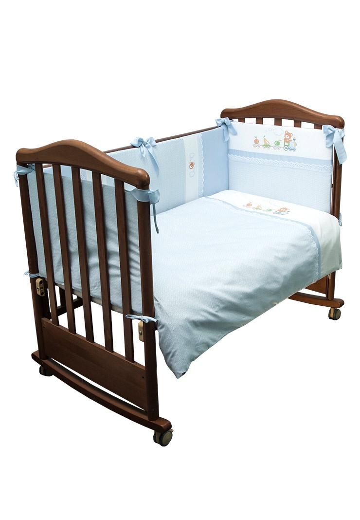 """Комплект белья в детскую кроватку Сонный гномик """"Паровозик"""", 372_1, голубой, 3 предмета"""