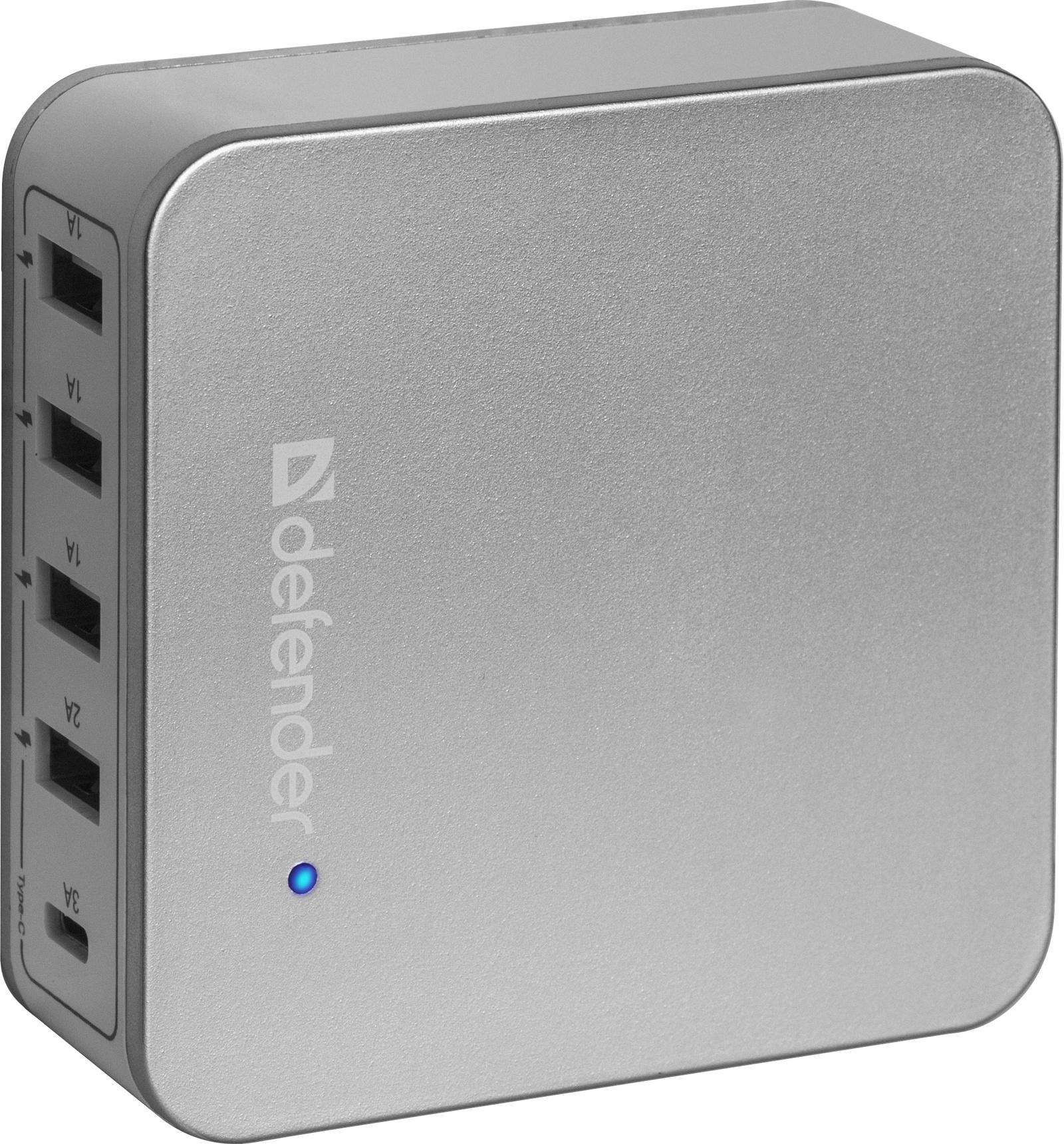 Сетевой адаптер Defender UPA-50 4 порта USB + Type C, 5V / 8A, 83538 стоимость
