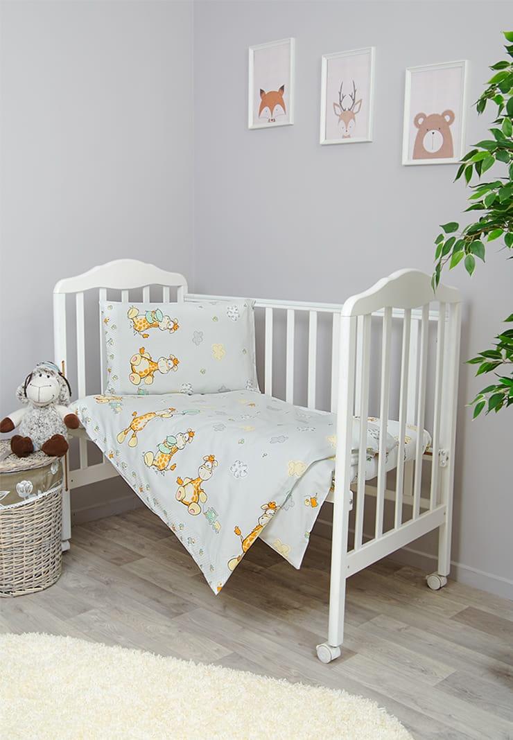 Фото - Комплект белья для новорожденных Сонный гномик Жирафик, серый комплект белья для новорожденных сонный гномик жирафик бежевый белый
