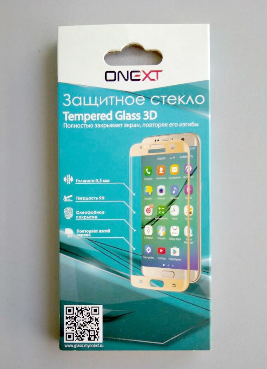 Защитное стекло Onext для телефона Samsung Galaxy S6 Edge 3D, 641-41163, прозрачный аксессуар защитное стекло для samsung galaxy s6 edge onext 3d transparent 41163