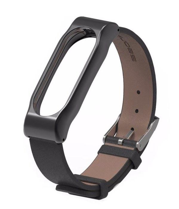Ремешок для смарт-часов Roxmi Ремешок кожаный для фитнес трекера Xiaomi Mi Band 3 черный, BMiB3L Black, черный цена и фото