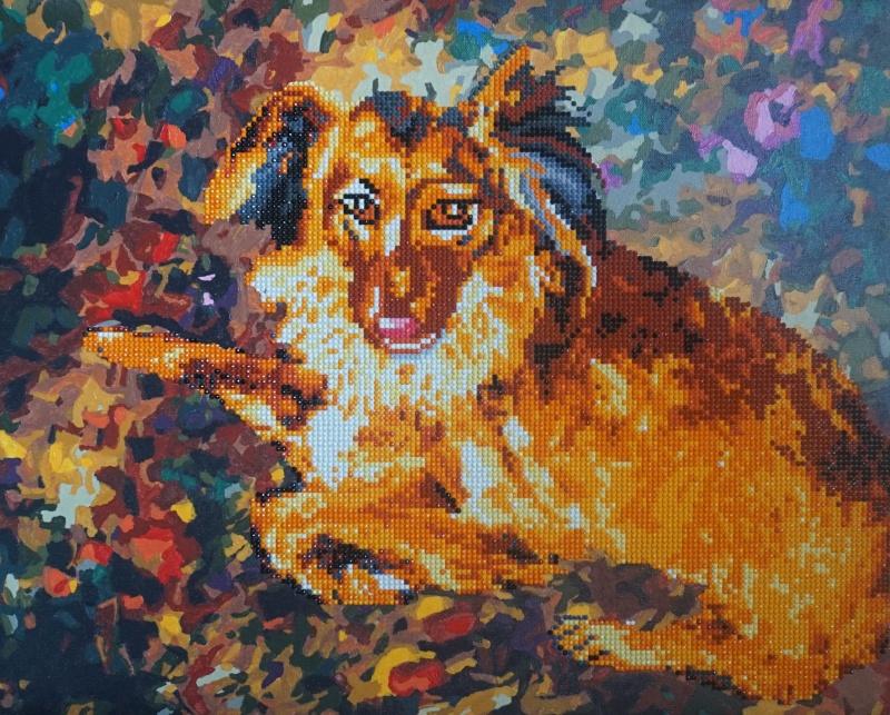 Алмазная мозаика Color Kit Алмазная картина - Раскраска 2 в 1, Породистый Пес, RA004 Color KIT