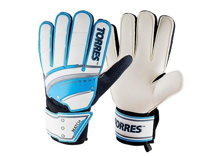 Перчатки вратарские Torres Match, белый, голубой, размер 10 перчатки вратарские torres jr fg05016 rd р 6