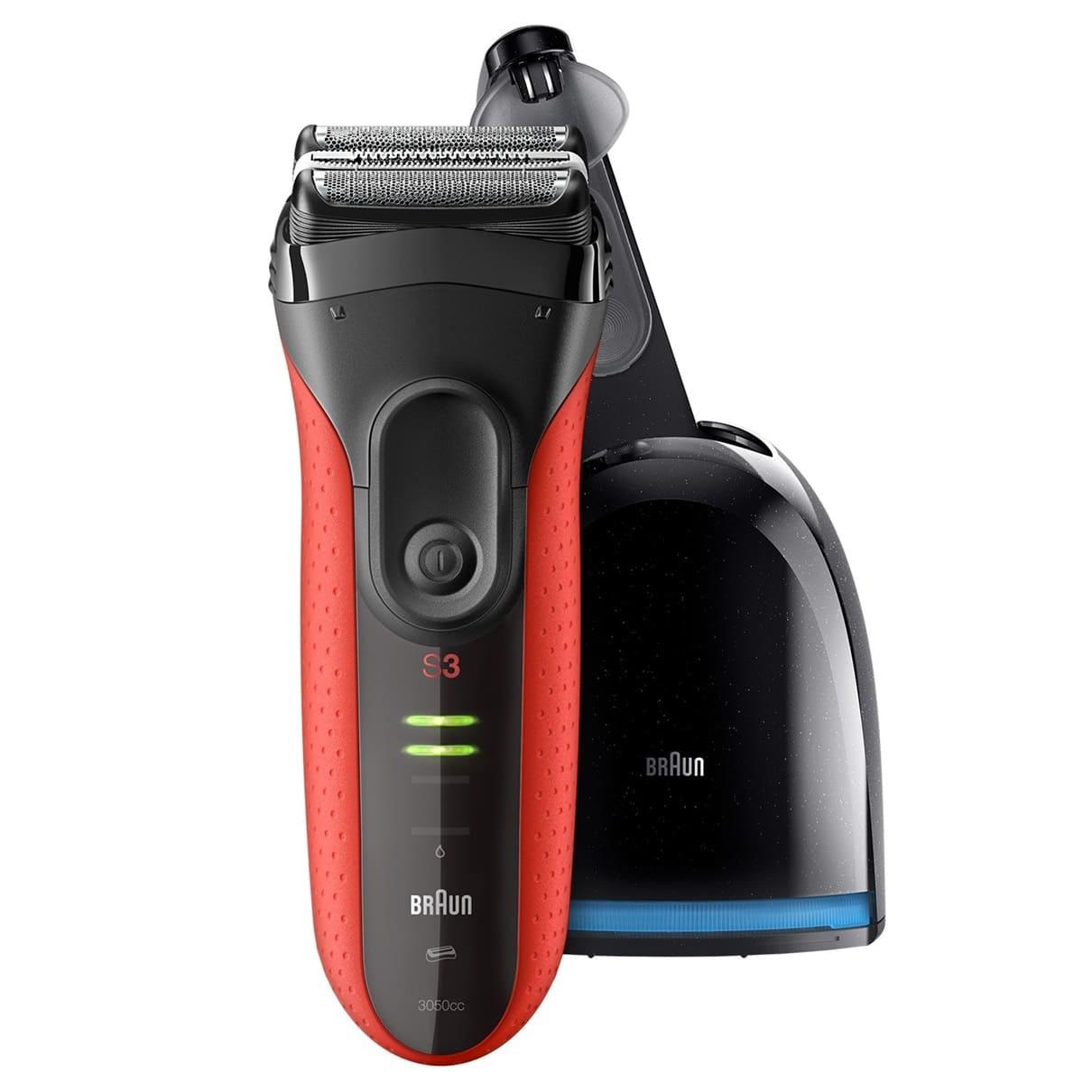 Электробритва Braun Series 3 ProSkin 3050cc, 81585586, с блоком Clean&Charge, Red
