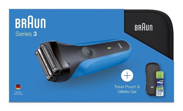 Электробритва Braun Series 3 310ts, 81645073, синий, черный + гель Gillette + футляр