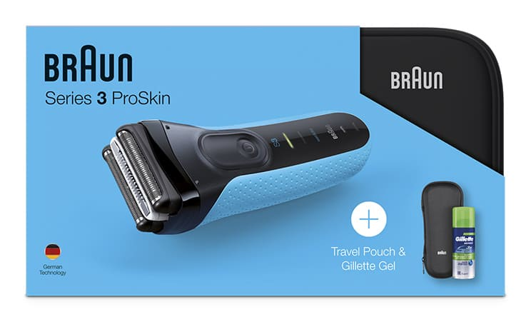Электробритва Braun Series 3 ProSkin 3010s Wet&Dry, 81645076, синий, черный + гель Gillette + чехол