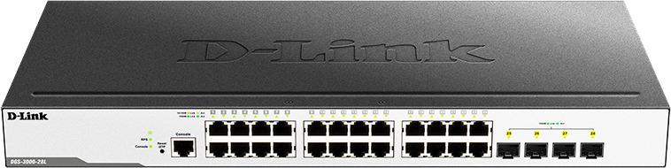 Коммутатор D-Link, управляемый, DGS-3000-28L/B1A коммутатор d link dgs 3000 52l b1a управляемый 2 уровня с 48 портами 10 100 1000base t и 4 портами 1000base x sfp