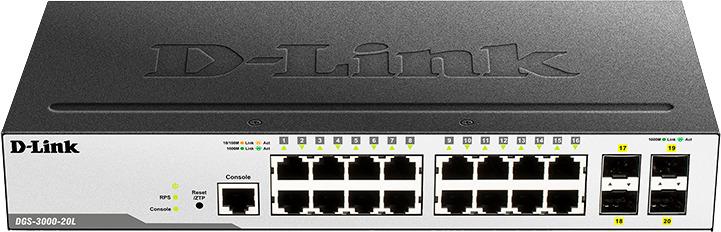 Коммутатор D-Link, управляемый, DGS-3000-20L/B1A коммутатор d link dgs 3000 52l b1a управляемый 2 уровня с 48 портами 10 100 1000base t и 4 портами 1000base x sfp
