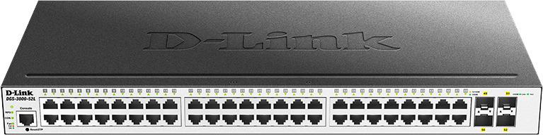 Коммутатор D-Link, управляемый, DGS-3000-52L/B1A коммутатор d link dgs 3000 52l b1a управляемый 2 уровня с 48 портами 10 100 1000base t и 4 портами 1000base x sfp