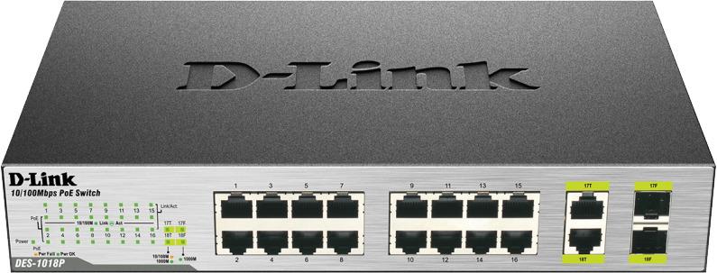 Коммутатор D-Link, неуправляемый, DES-1018P/A2A