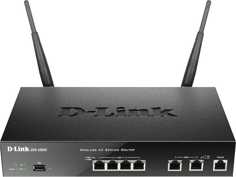 Сетевой экран D-Link DSR-500AC, черный межсетевой экран d link dsr 500ac ru 2xwan 4xlan
