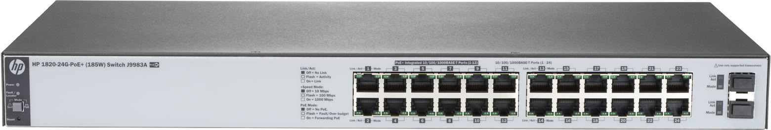 Коммутатор HPE 1820-24G-PoE+, управляемый, J9983A коммутатор hpe 1820 24g poe управляемый j9983a