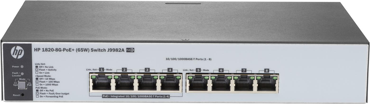 Коммутатор HPE 1820-8G-PoE+, управляемый, J9982A коммутатор hpe 1820 24g poe управляемый j9983a