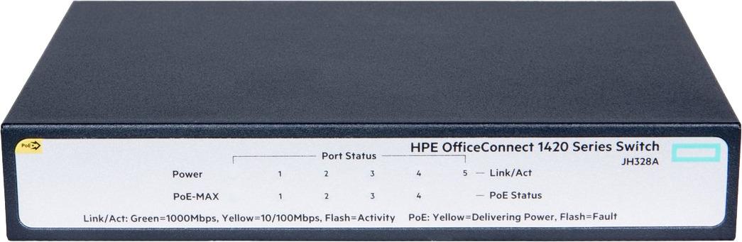Коммутатор HPE OfficeConnect 1420, неуправляемый, JH328A коммутатор upvel up 215sge 5 портовый гигабитный каскадируемый poe коммутатор 5 портов 10 100 1000 мбит с 4 порта poe каждый poe порт обеспечивае