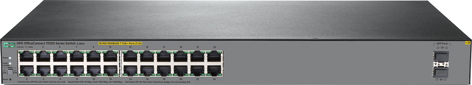 Коммутатор HPE OfficeConnect 1920S, управляемый, JL385A коммутатор hpe 1820 24g poe управляемый j9983a