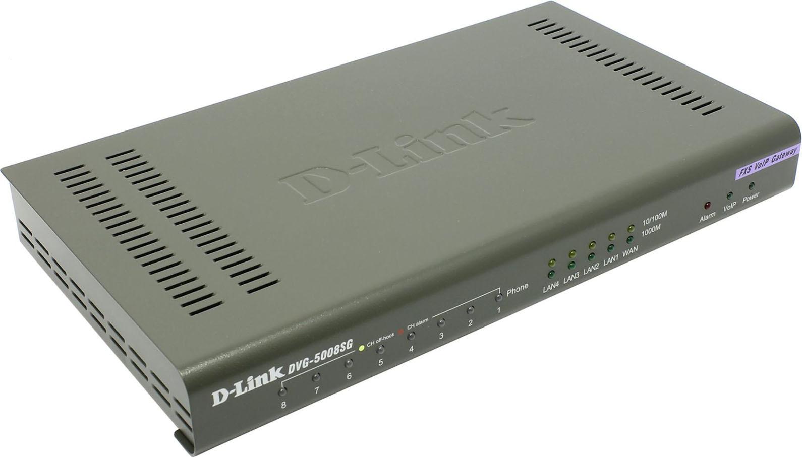 Шлюз D-Link, DVG-5008SG/A1A шлюз voip d link dvg 5008sg a1a 8xfxs rj 11 4xlan 1xwan 10 100mbps sip