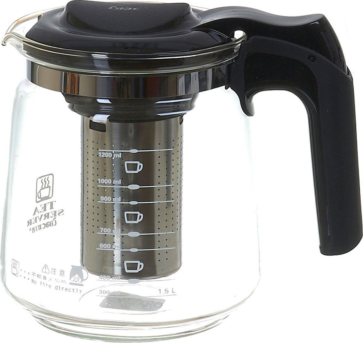 Чайник заварочный Lilac, 5520010-1, прозрачный, черный, 1,5 л чайник заварочный lilac 5520010 1 прозрачный черный 1 5 л