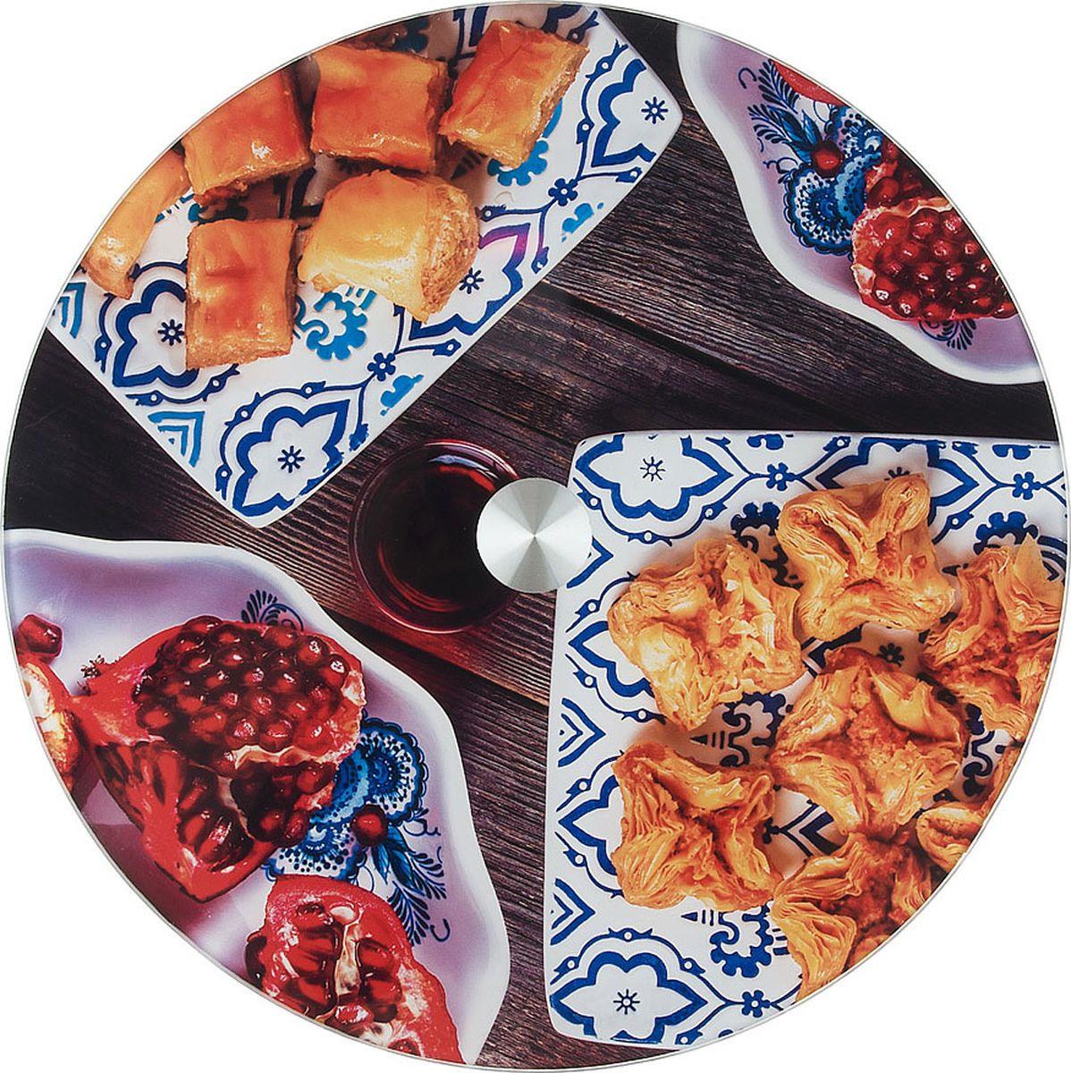 Блюдо для сервировки стола Best Home Kitchen Восточные сладости, вращающееся, 5341133, темно-коричневый, оранжевый, 32 х 32 х 2,2 см картаев павел восточные сладости