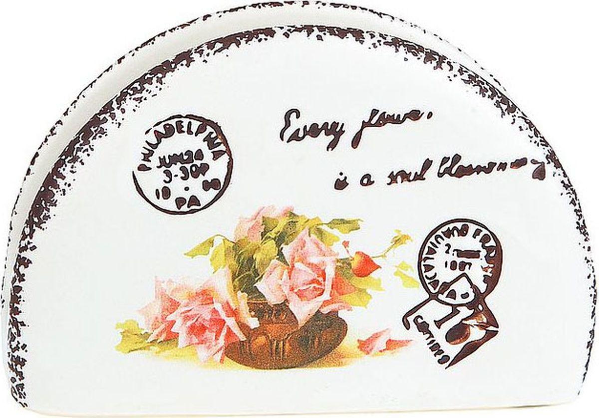 Салфетница ENS Group Персиковая роза, 1750155, белый, серый, 12 х 4 х 8 см кружка ens group персиковая роза 325 мл