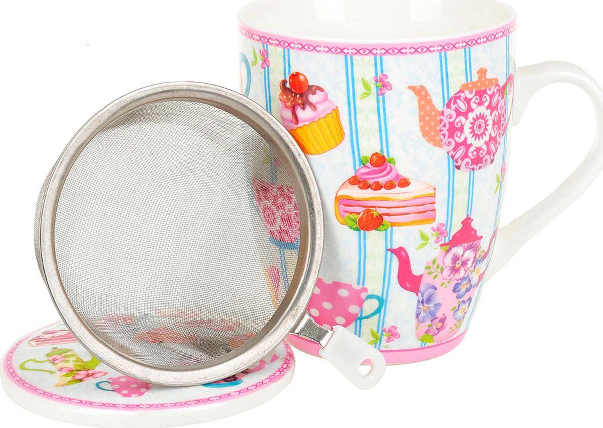 Кружка заварочная Nouvelle De France Английское чаепитие, с фильтром, M0661049, голубой, розовый, 320 мл кружка заварочная rosenberg r 260028