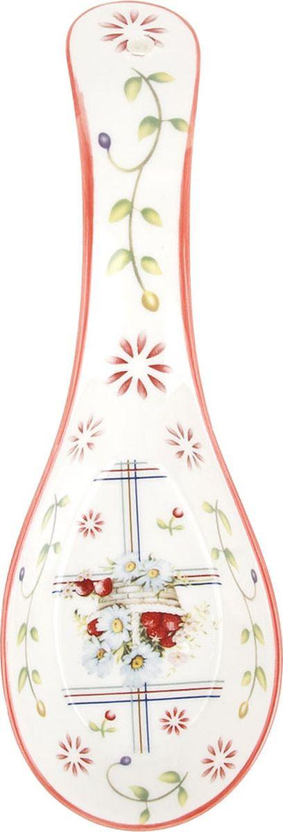 """Кухонная подставка под ложку Best Home Porcelain """"Лукошко"""", 600119, белый, коралловый, 22 х 8 х 4 см"""