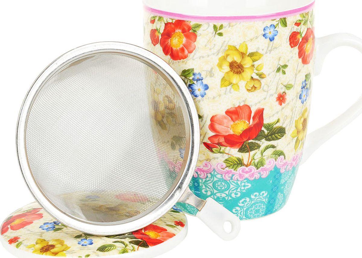 Кружка заварочная Nouvelle De France Цветочная поэма, с фильтром, M0661048, разноцветный, 320 мл кружка заварочная rosenberg r 260028