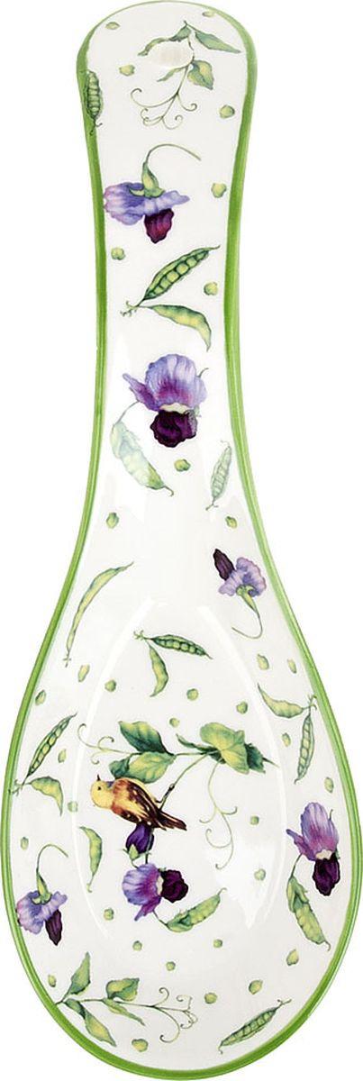 """Кухонная подставка под ложку Best Home Porcelain """"Луговой горошек"""", 600104, белый, зеленый, 22 х 8 х 4 см"""