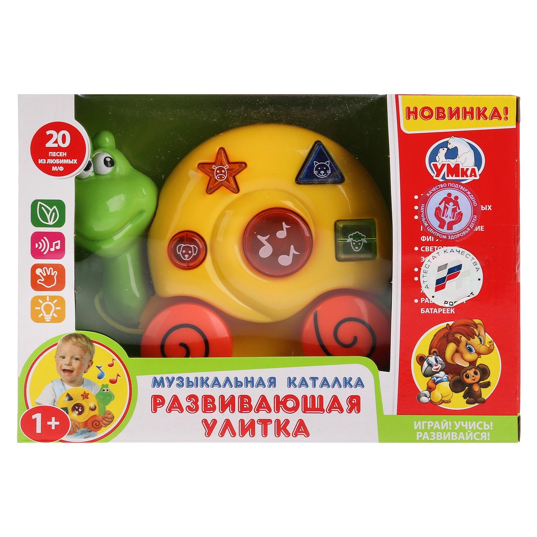Развивающая игрушка Умка Музыкальная каталка ТМ «Развивающая улитка» на батарейках, со светом и звуком, русифицированной упаковке. настольная игра умка развивающая игра на магнитах собери торт тм умка 248891