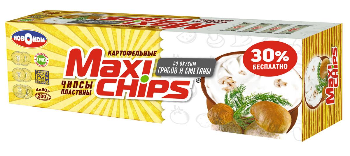 Чипсы картофельные Maxi-chips, грибы, сметана, 200 г чипсы картофельные maxi chips сметана лук 50 г