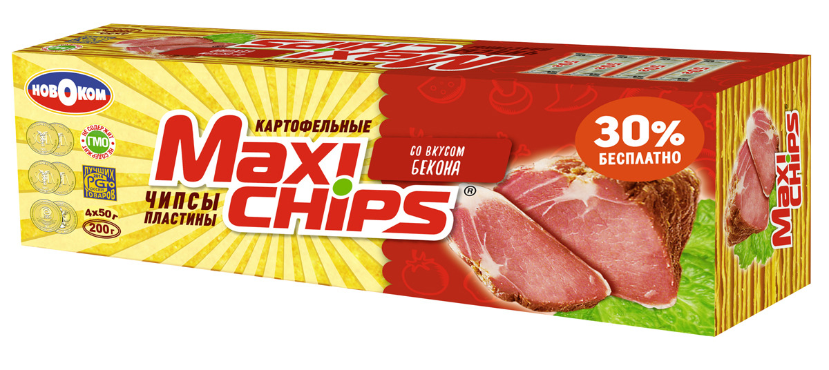 Чипсы картофельные Maxi-chips, бекон, 200 г чипсы картофельные русская картошка креветки 50 г