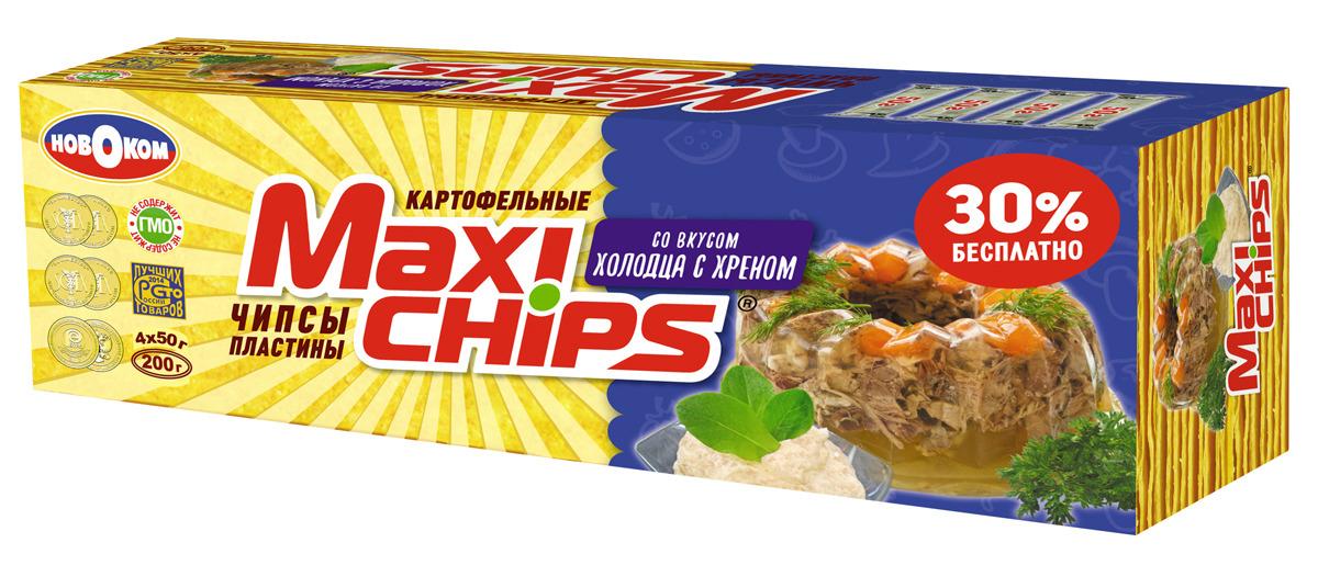 Чипсы картофельные Maxi-chips, холодец с хреном, 200 г00000003205Оригинальные хрустящие картофельные чипсы в пластинах, изготовленные по уникальной рецептуре с использованием инновационного оборудования и современных технологий. В пачке Maxi-chips 200 грамм находятся 4 индивидуальных упаковки по 50 грамм каждая.