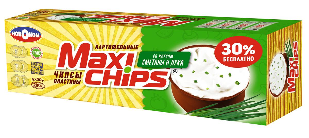 Чипсы картофельные Maxi-chips, сметана, лук, 200 г чипсы картофельные maxi chips сметана лук 50 г