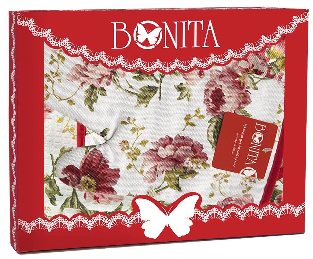 Подарочный набор Bonita Английская коллекция полотенце+прихватка+рукавица, 11010817103, белый, красный