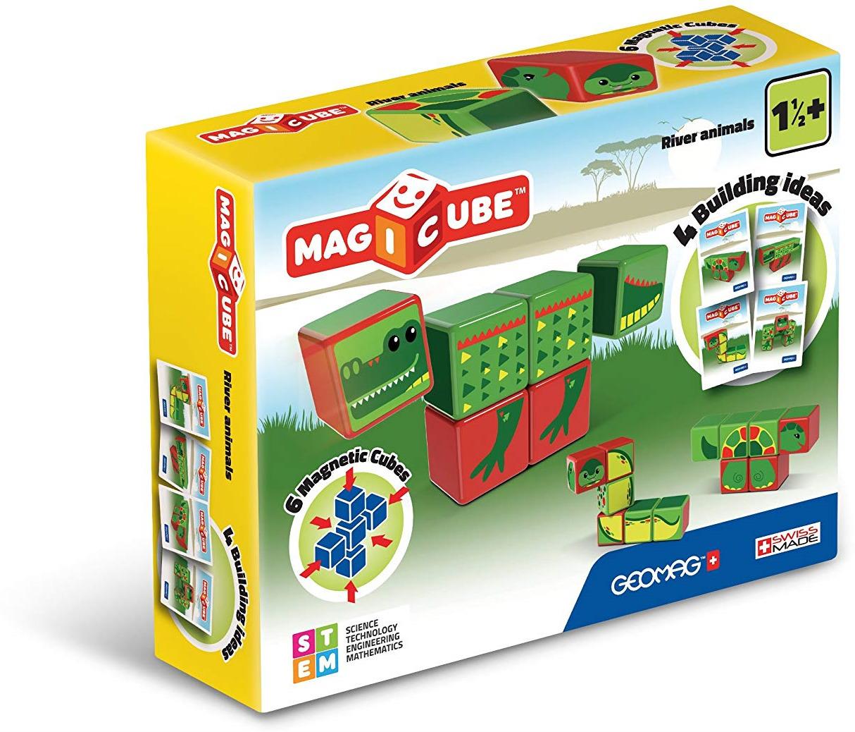 Конструктор магнитный Geomag MagiCube, 133, 6 элементов133Магнитный конструктор для самых маленьких, в комплект которого входят кубики с картинками. Все они соединяются между собой при помощи магнитов и крепятся друг к другу любой стороной. Конструктор развивает у детей внимательность, усидчивость, аккуратность, логическое мышление.В комплекте кубики с картинками(как пазл). Позволяет собрать несколько изображений.