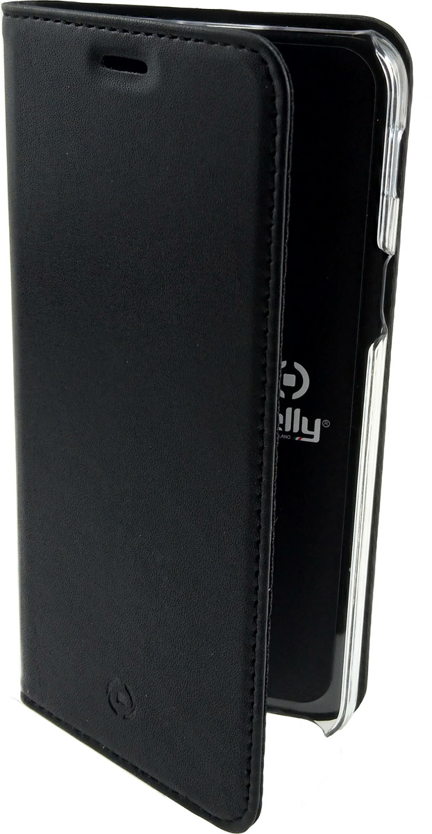 Чехол-книжка Celly Air Case для Samsung Galaxy A6 (2018), AIR737BKCP, черный чехол книжка celly air case для samsung galaxy j5 2017 с отделением для кредитных карт черный