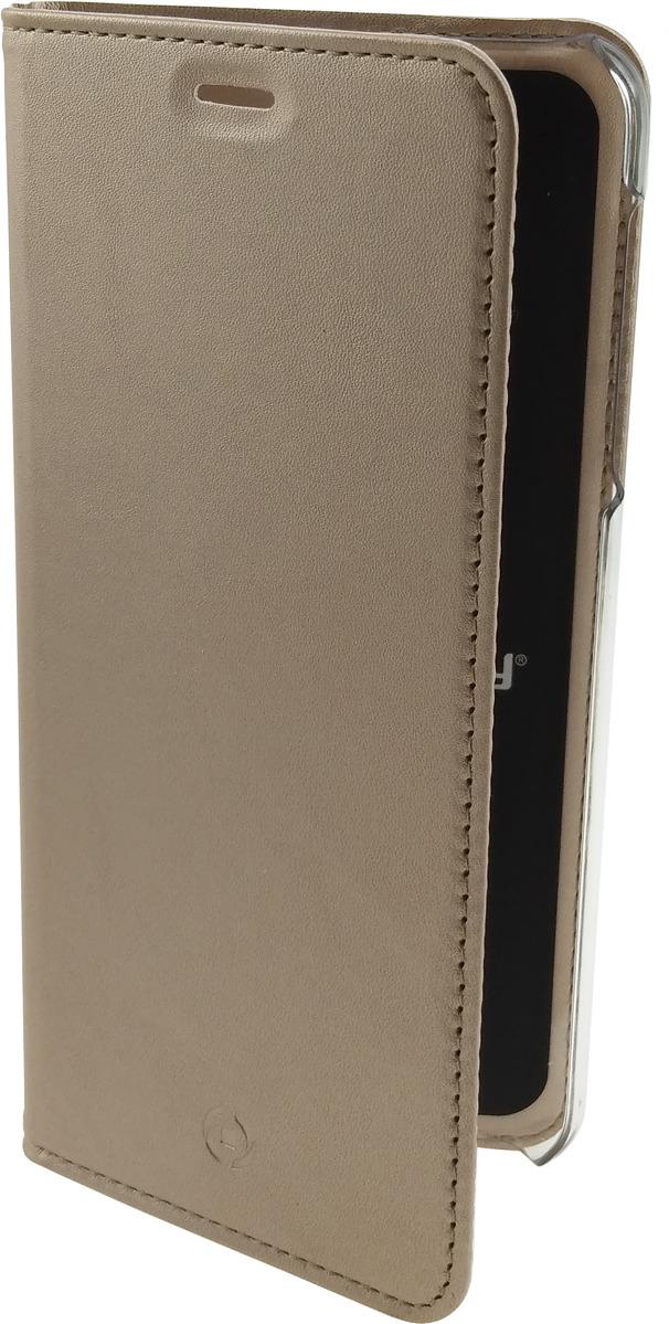 Чехол-книжка Celly Air Case для Samsung Galaxy A6+ (2018), AIR738GDCP, золотой чехол книжка celly air case для samsung galaxy j5 2017 с отделением для кредитных карт черный