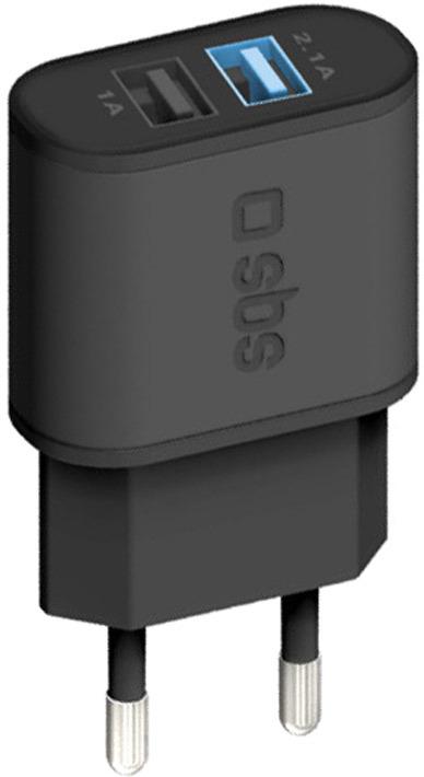 Зарядное устройство SBS, TETR2USB21AFAST, Black автомобильное зарядное устройство sbs mini te0apu022 black