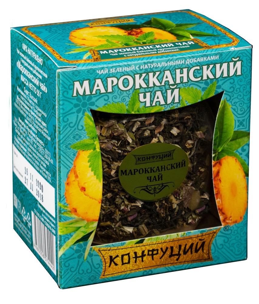 Чай листовой Конфуций Марокканский чай, 55 гkonf00009Высококачественный зеленый чай с добавлением сушеной мяты, цукатов ананаса и папайи.