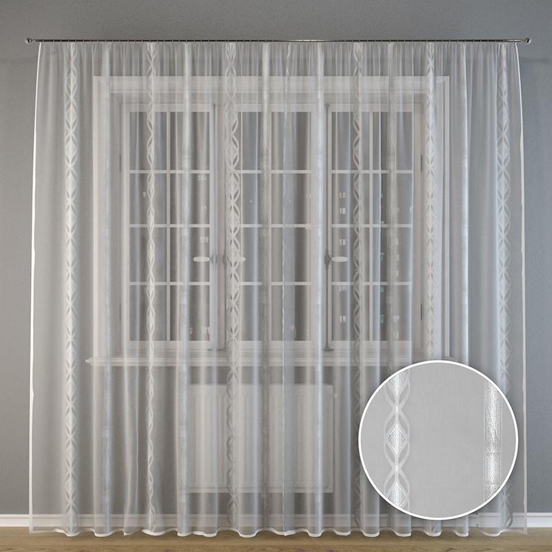 """Тюль Ambesonne """"Серебряные узоры"""", GST_0003, белый, серый, 275х300 см"""