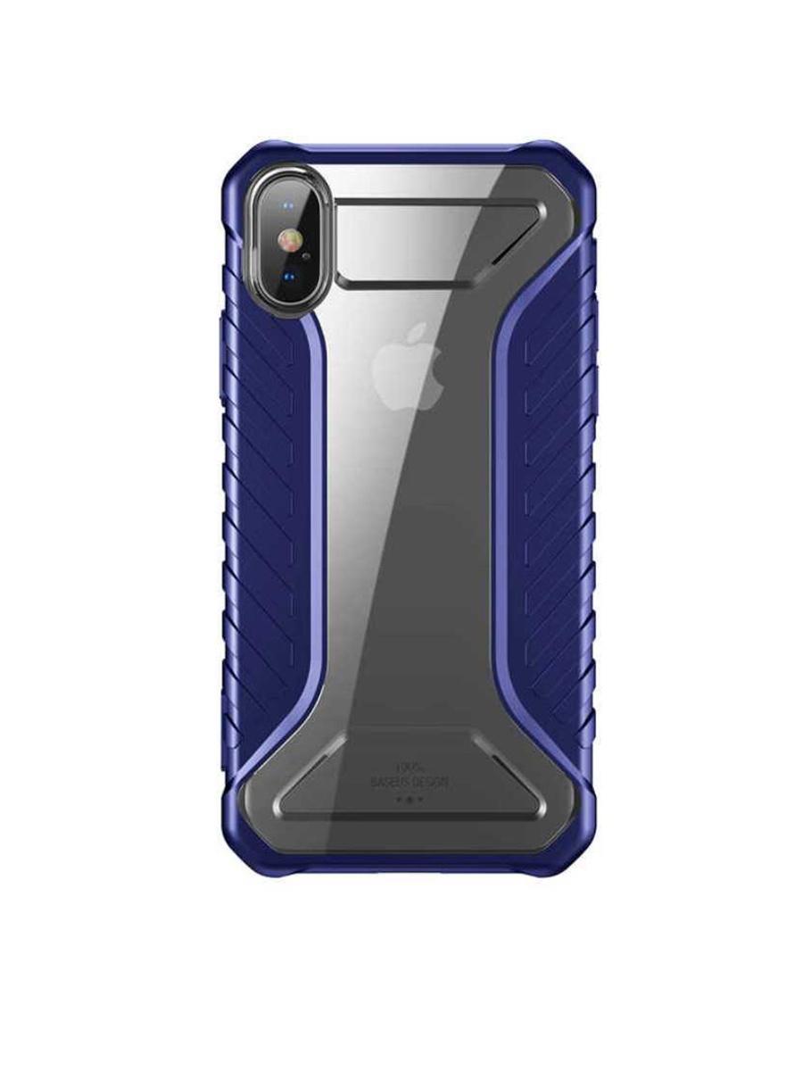 Чехол BASEUS Michelin Race для Apple iPhone X, 572616, синий, прозрачный